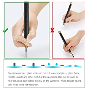 Glass Cutter Tool Set 2mm-20mm Pencil Style Oil Feed Carbide Tip with 2 Bonus Blades and Screwdriver