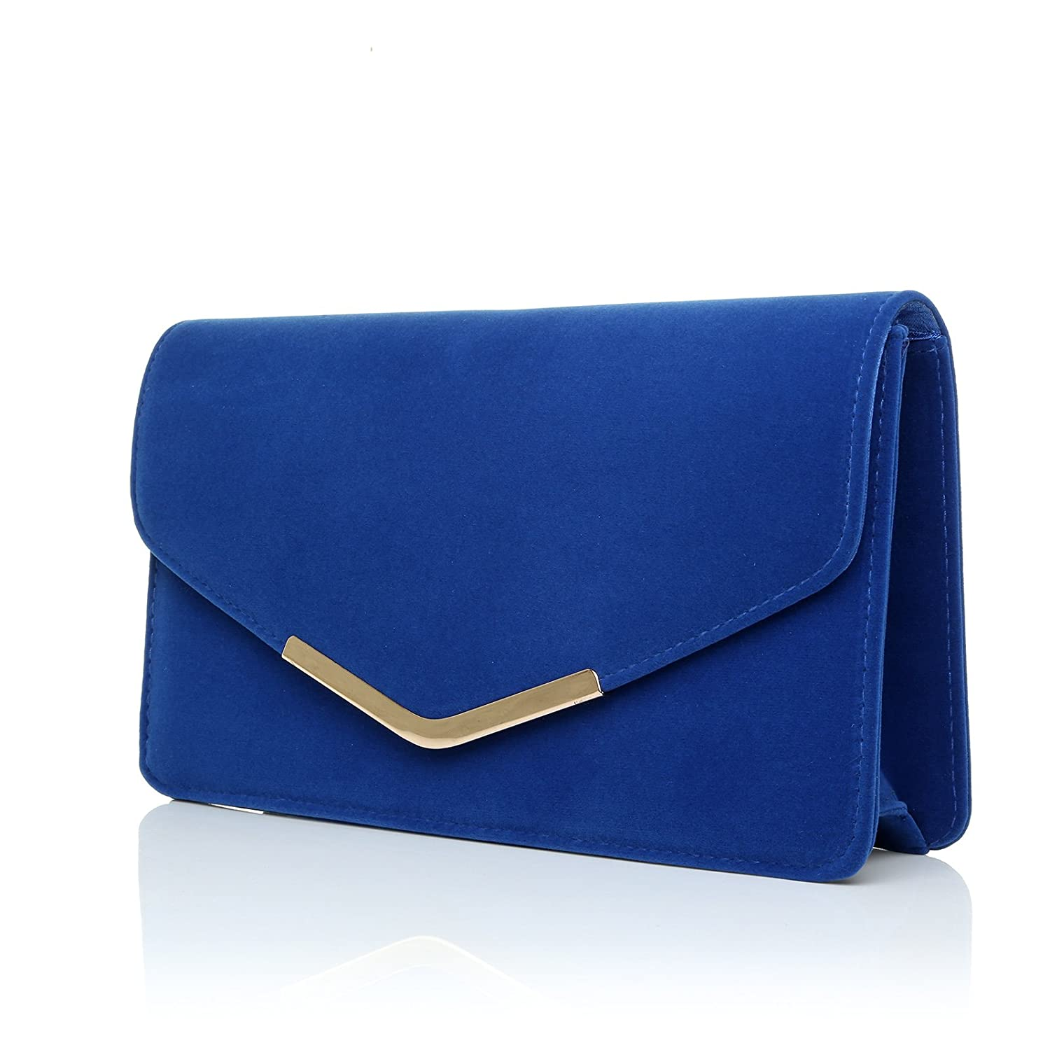 LUCKY Electric Blue Suede Medium Size Clutch Bag: ShuWish UK ...