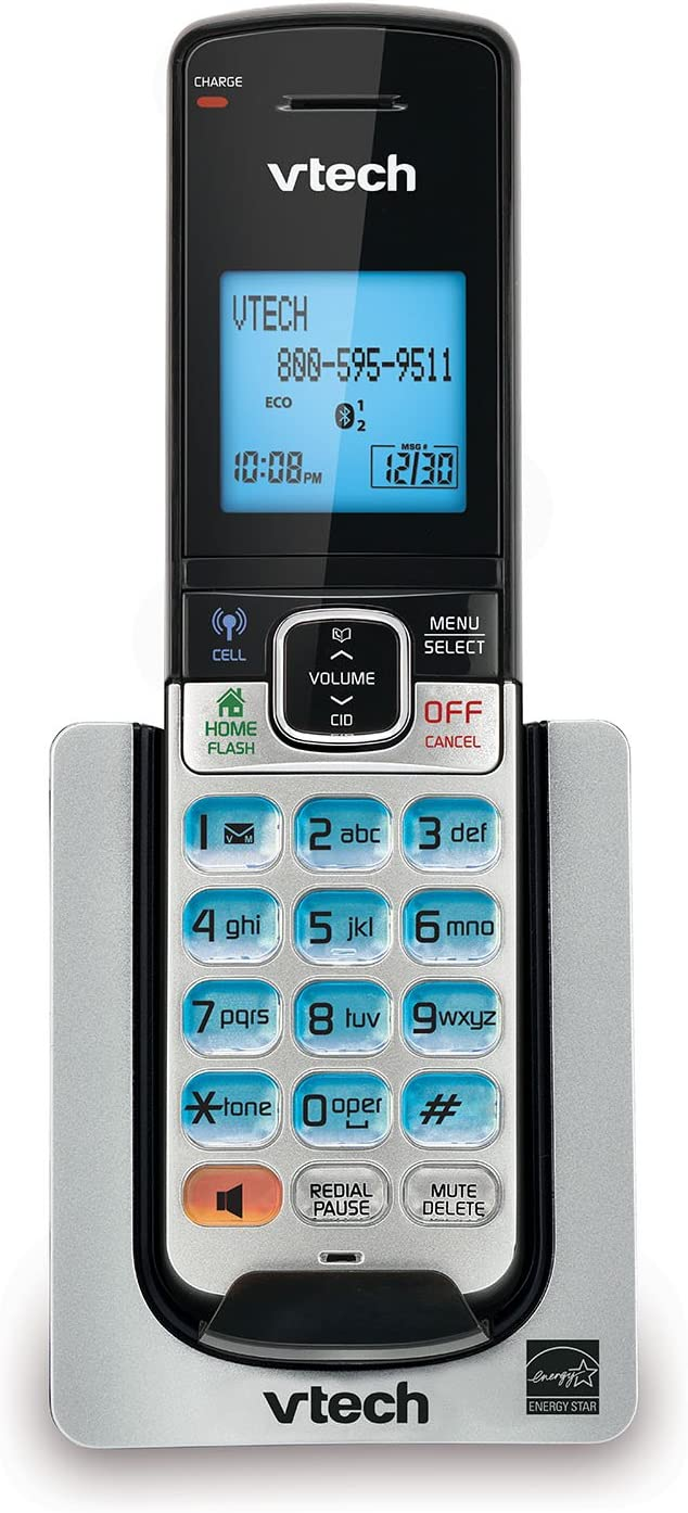 VTech DS6600 Accessory Cordless Handset, Silver/Black | Requires a VTech DS6611 or DS662X Series Cordless Phone System to Operate