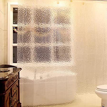 Bathroom Shower Curtains 3D Water Cube Clear Panel Waterproof EVA Decor 12 Hooks 71x71inch