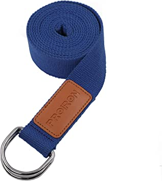 PROIRON Yoga Strap Adjustable D-Ring Buckle Yoga Belt for Fitness Flexibility Stretching Yoga Pilates Physical Therapy 12 ft Durable Cotton Strap