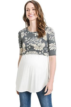 14f23132776 Hello MIZ Women's Maternity Nursing Tunic Top with Empire Waist (Black  Floral/Ivory,
