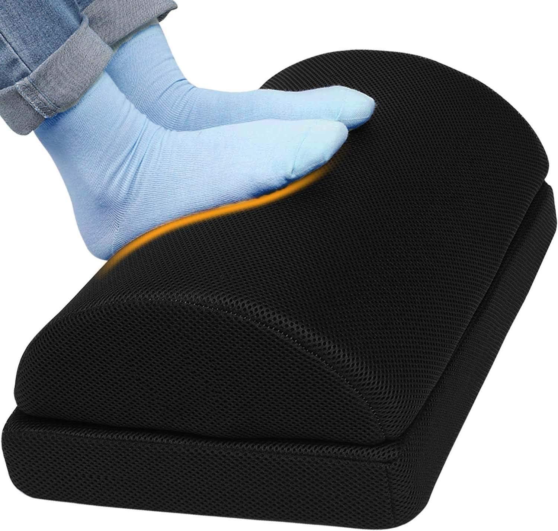Ergonomic Foot Rest Under Desk Cushion 100% Memory Foam Pillow Non Slip Bottom Half Cylinder Padded for Leg Support for Home Office Airplane Plane Travel (Adjustable Height Black)