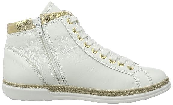 Tamaris 25216, Zapatillas Altas para Mujer, Blanco (White/Lt Gold 194), 36 EU