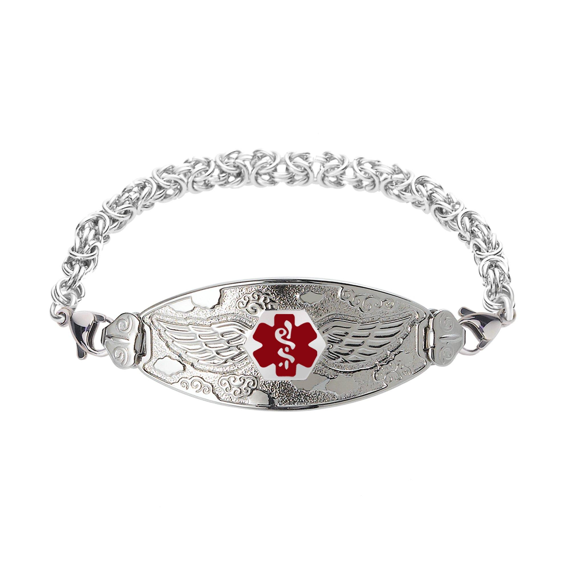 Divoti Custom Engraved Angel Wing Medical Alert Bracelet -Handmade Byzantine -Red-8.0''
