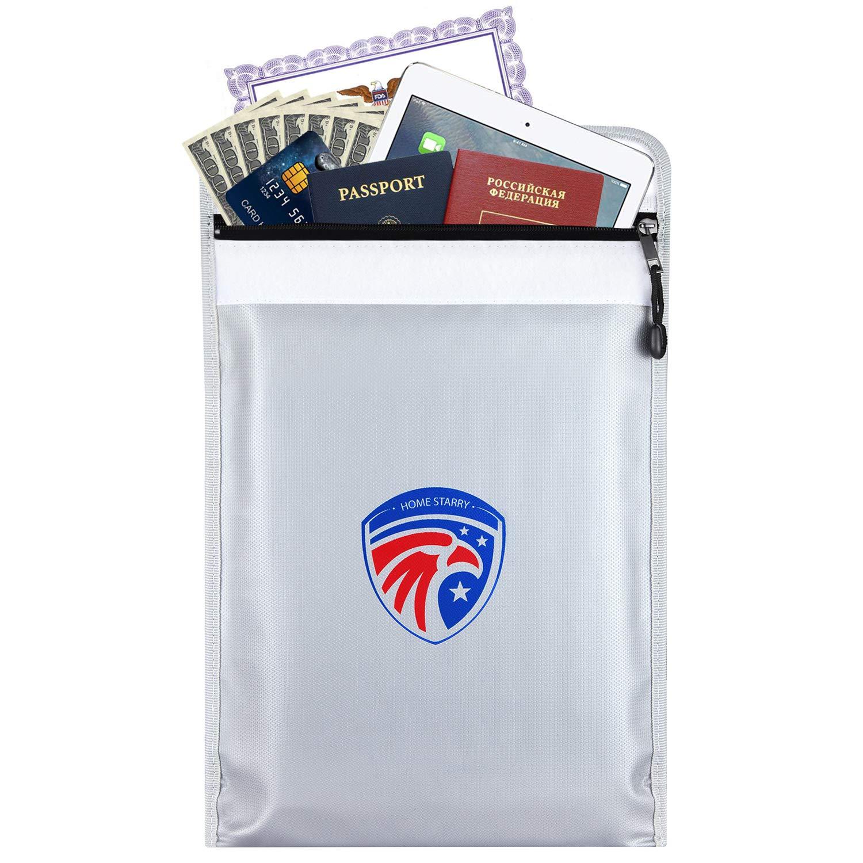 Fireproof Document Bag,Homestarry Exclusive Patriotic Design Fireproof Safe Bag 15'' x 11'', Unique Liquid Silicone Fiberglass Cloth Fire Resistant Money Bag Safety Storage for your valuables(Gray)