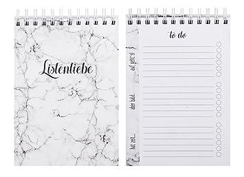 Lunes Amor to do lista 100 páginas mármol Diseño Blanco ...