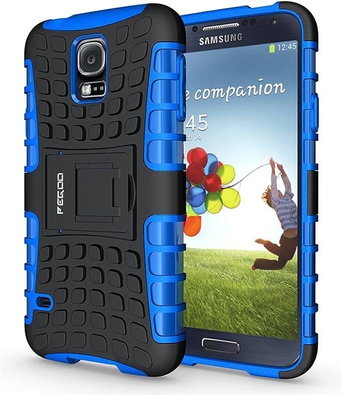 Pegoo Coque pour Galaxy S5, résistante aux chocs hybride double couche en plastique rigide et TPU souple avec béquille pour Samsung Galaxy S5 Bleu