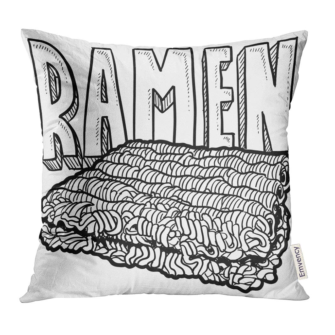 Golee Throw Pillow Cover Dorm Doodle Style Ramen Noodles College Food in Format Bachelor Life Decorative Pillow Case Home Decor Square 16x16 Inches Pillowcase