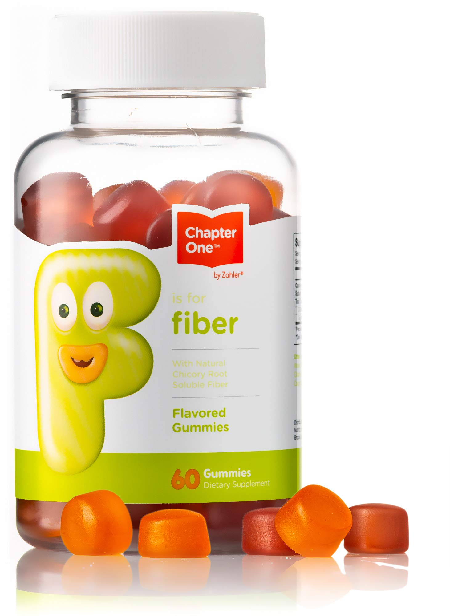 Chapter One Fiber Gummies, with Natural Chicory Root Soluble Fiber, Certified Kosher, 60 Flavored Gummies by Zahler