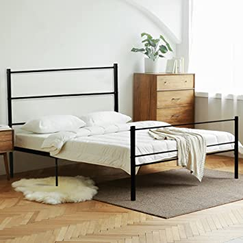 LIFE CARVER Metal Bed Frame Double Black Strong Frame for Adults ...