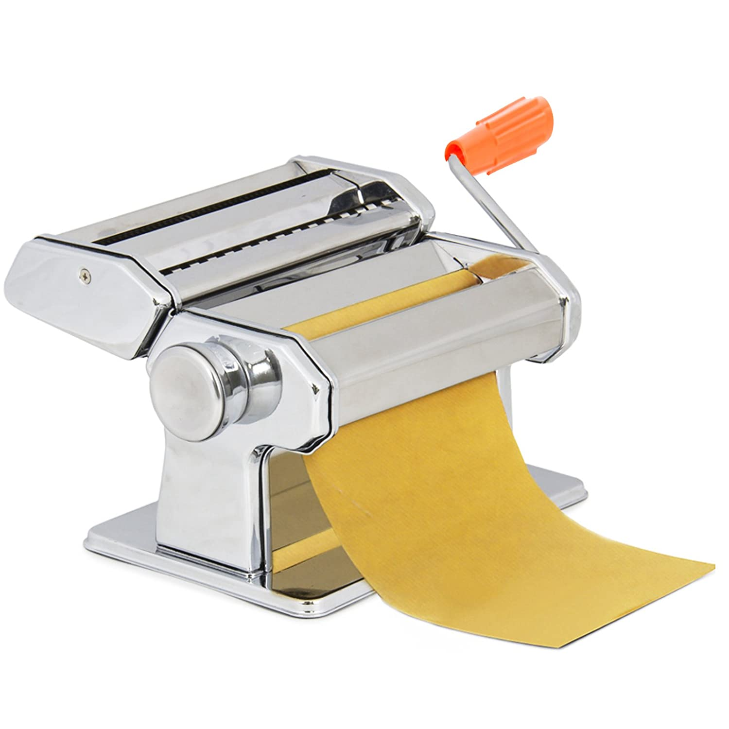 Busyall Fresh Pasta Maker, Stainless Steel 7-Inch Roller Machine Cutter for Spaghetti Noodle