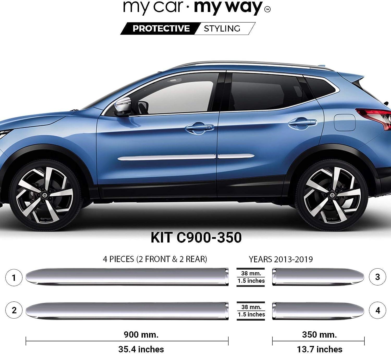 Dljyy Car trim Fit for Nissan fit for Qashqai J11 2014 2015 2016 2017 2018 2019 Carbon Fiber Chrome Door Handle Cover Catch Cap Trim Molding Accessories Color : Black 2 buttons