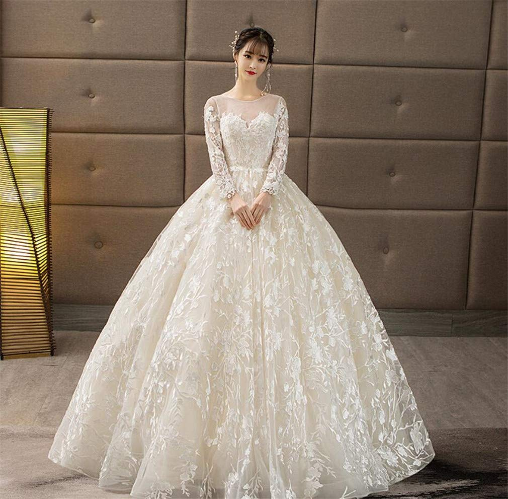 Wedding Dress, Europe and America Elegant Champagne Round Neck Long Sleeve Lace Flower Embroidery Temperament Princess Church Dress