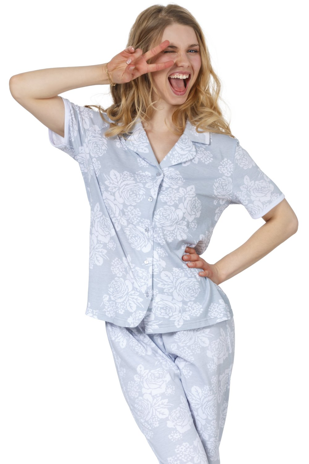 Cozy and Curious Women's Soft Cotton Tailored Pajamas (Set of 2) (Large, Hill Gray) by Cozy & Curious (Image #4)