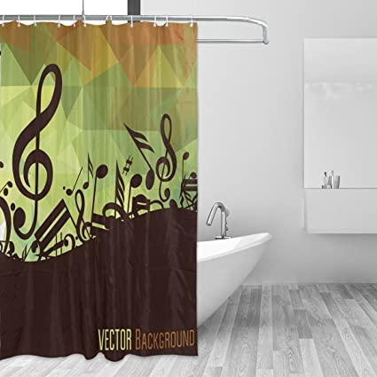 WIHVE Music Note Triangle Shower Curtain Mildew Resistant Waterproof Bath Fabric For Bathroom Decorations In