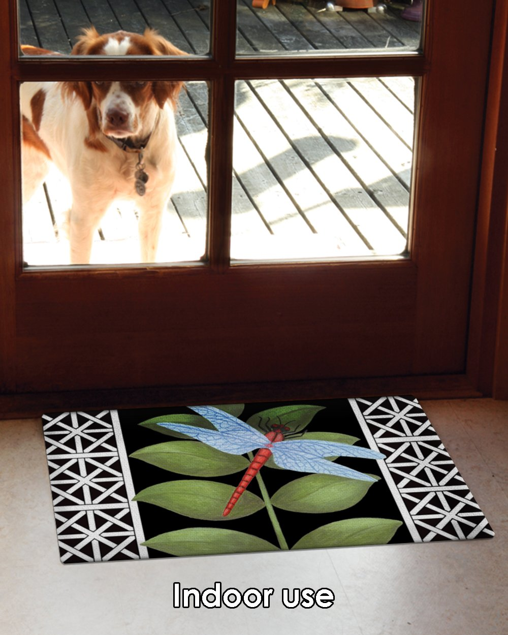 Toland Home Garden Dragonfly on Black 18 x 30 Inch Decorative Floor Mat Leaf Animal Lattice Doormat Toland Home /& Garden 800053