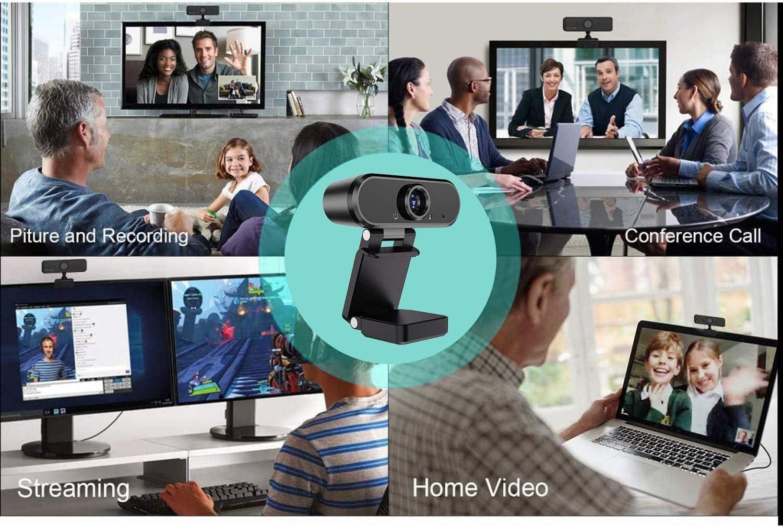 Gran Angular Webcam Computadora 1080P Full HD Computadora USB de Pantalla Ancha para PC Grabadora de Videoconferencia de Escritorio para Computadora Port/átil Mac 30fps-1080P
