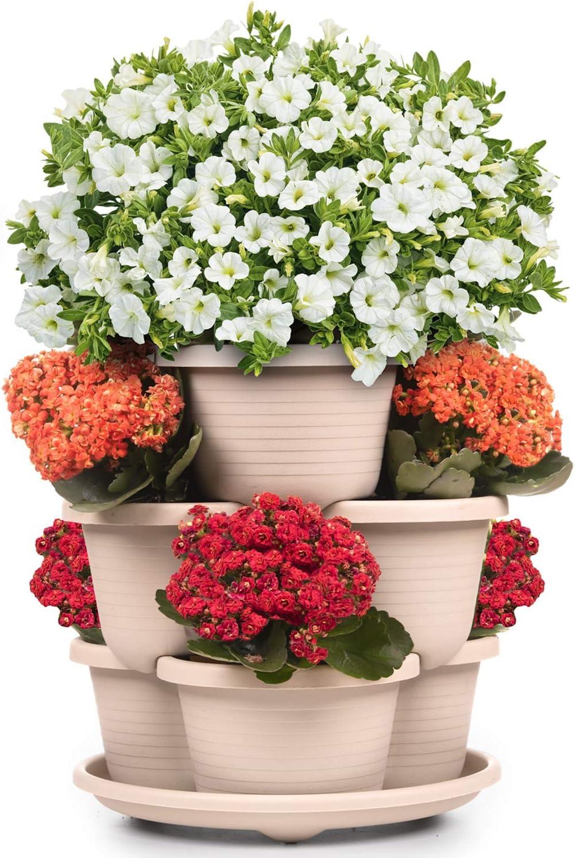Stackable Planter Vertical Garden for Vegetables, Flowers, Herbs, Succulents, Microgreens, Gardening┃3 Tier Growing System for Indoor and Outdoor, Porch Tower Garden