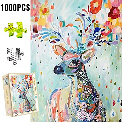 XIECCX Jigsaw Puzzle (1000-Piece) Animal Elk Unique Home Games for Kids Adult Decompression Toys Leisure Time Easy-Clean Promotes Hand-Eye Coordination: Toys & Games