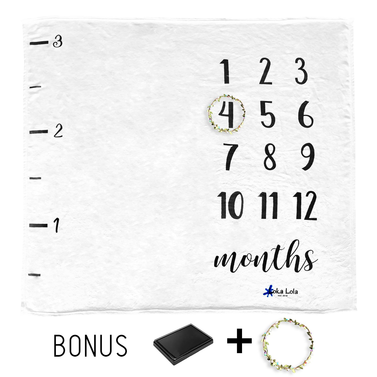 Loka Lola Milestone Blanket, Including Wreath and Ink Cartridge, Great for recording baby growth and photos