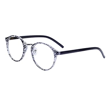 bf9f8d37ed Clear Lens Retro Round Glasses Frame Women Men Horned Rim Metal Bridge +  Case  Amazon.co.uk  Clothing
