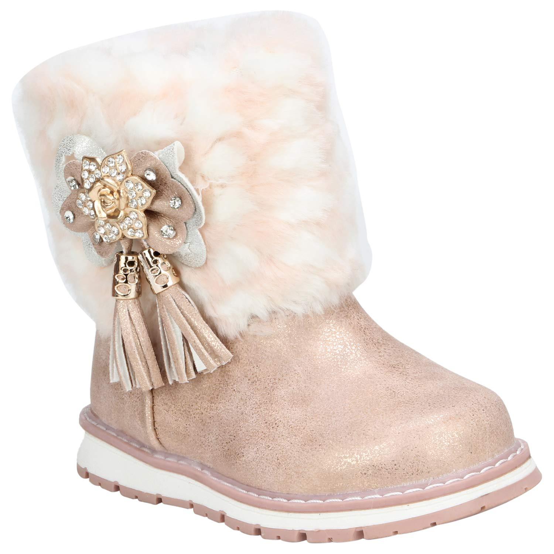 Rose Gold Sparkling Fur Leather Boots