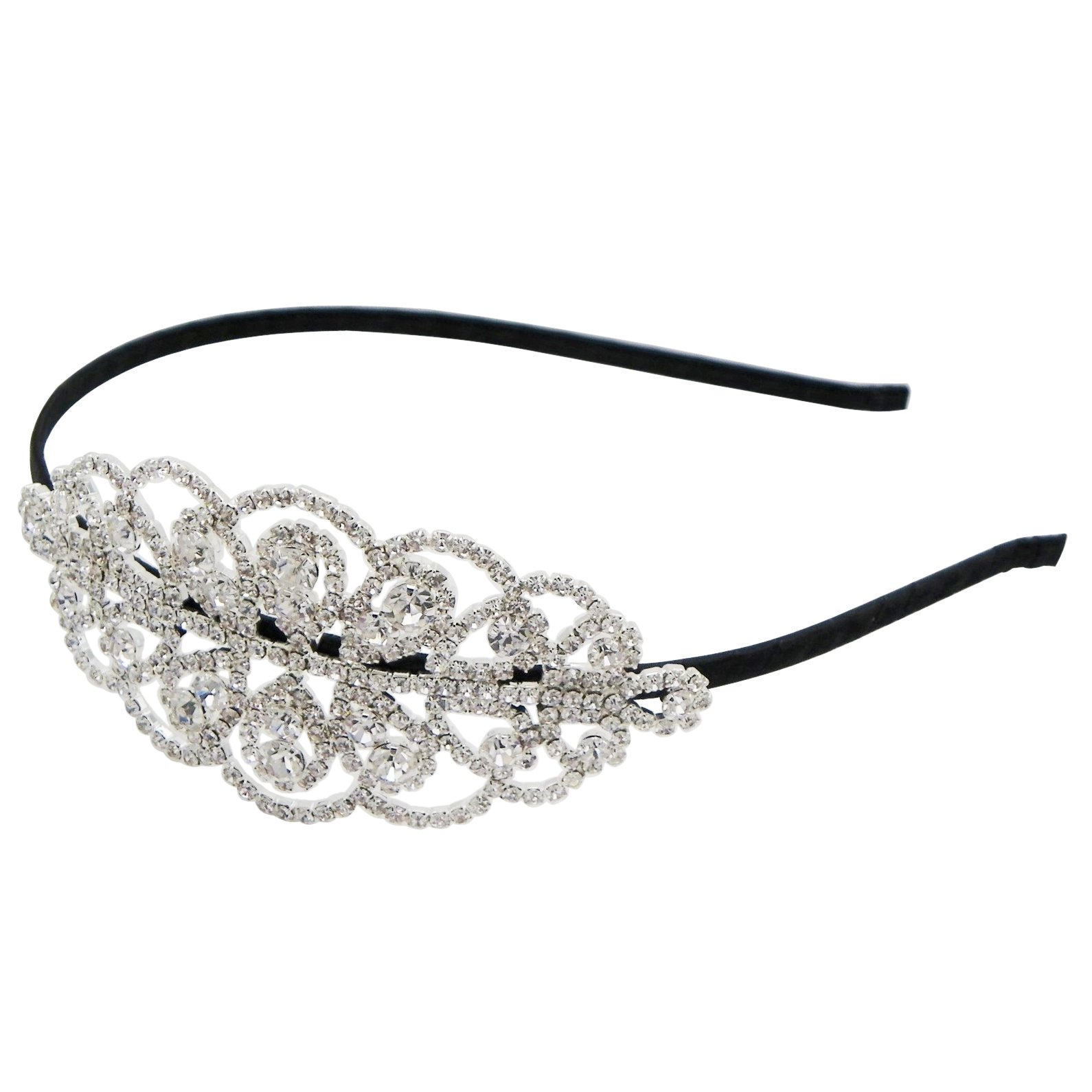 Rosemarie Collections Women's Bridal Crystal Rhinestone Side Spray Headband (Round Stone)
