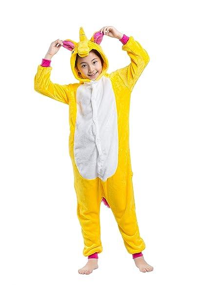CuteOn Niños Pijamas de Animales Kigurumi Onesies - Disfraz de Cosplay para Unisexo para Niños Amarillo