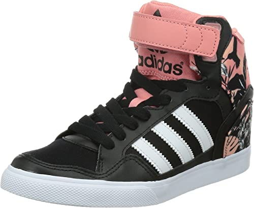 adidas Originals Extaball Up Damen Sneaker Schuhe Keilabsatz Schwarz Rosa Blüten