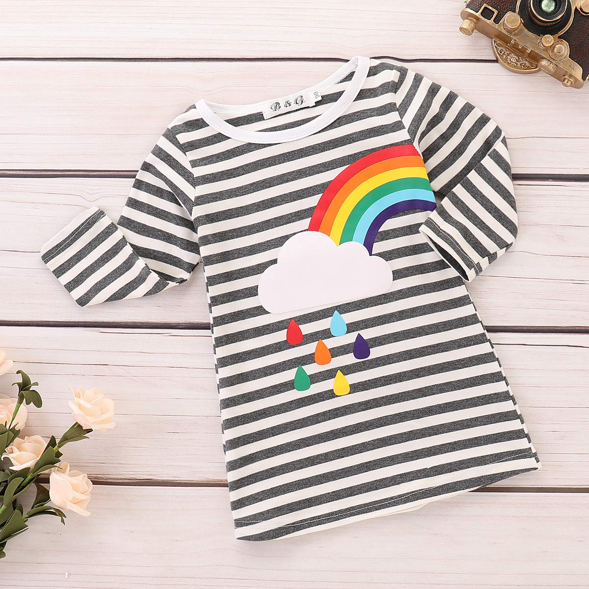 Kids Girls 2 Pack Tee T-Shirts Rainbow Striped Printed Tops Clothes Outfit 1-6 Years