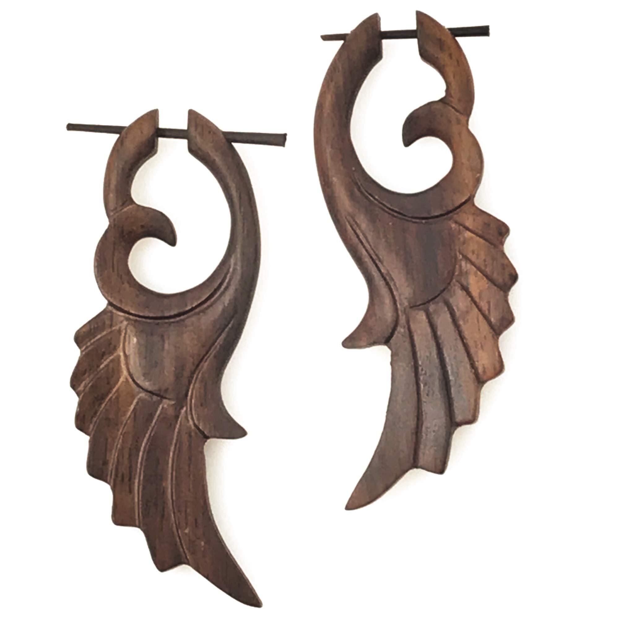 UMBRELLALABORATORY Tribal Organics Earrings Wooden Tropical Feathered Bird Style Fake Gauges W 13