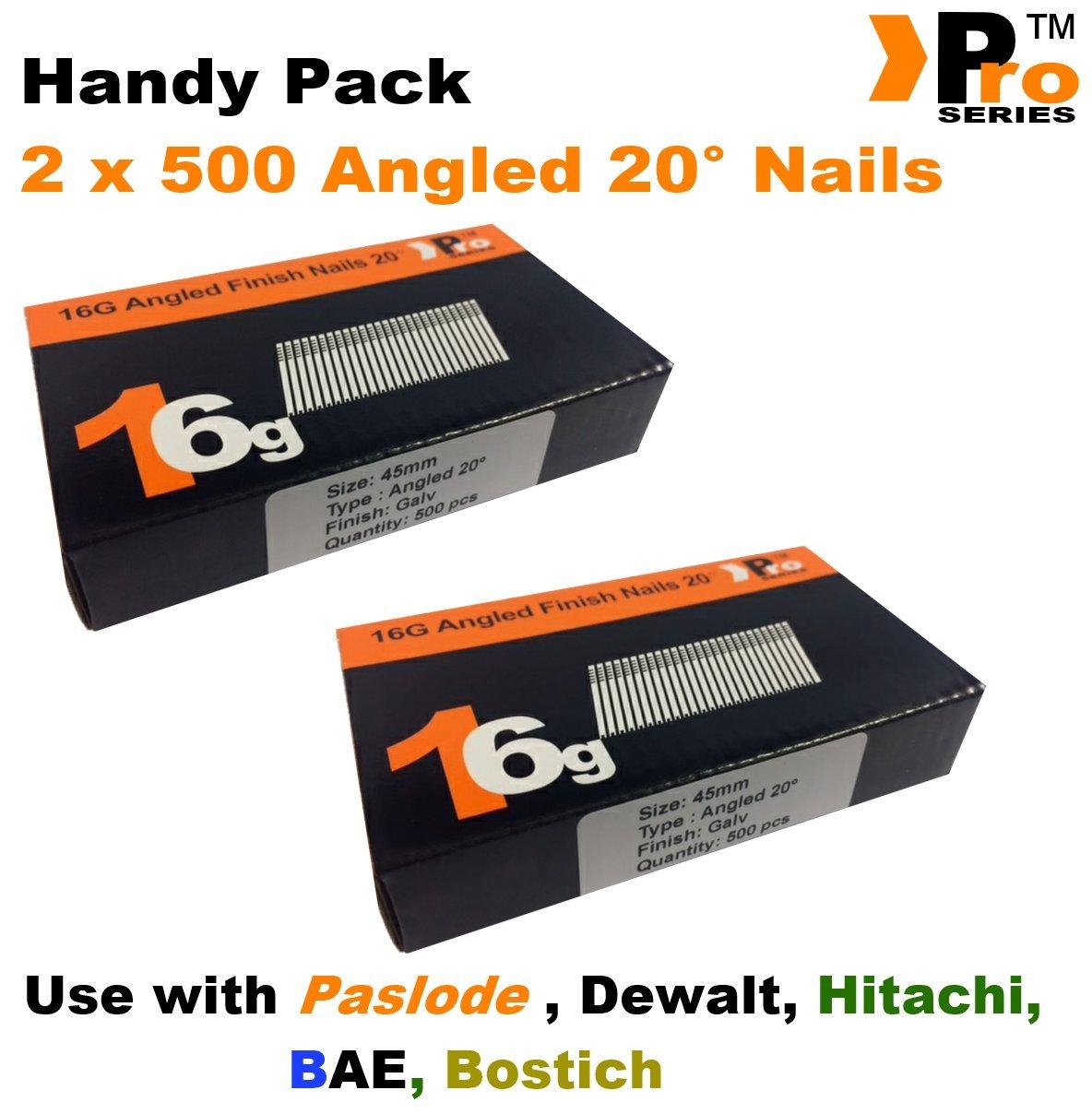 /pour Dewalt 1000/clous/ Hitachi Paslode 2/x 500 /16/G coud/é /à 20//°/