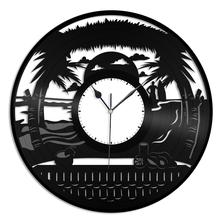 VinylShopUS - Beach Design Vinyl Wall Clock Design Unique Home Room Office   Home Decoration