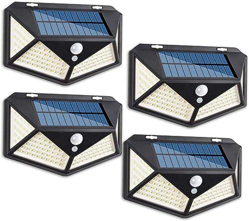 OHMU 114 LED Solar Lights Outdoor,3 Optional Modes Solar Motion Sensor Lights,270 Wide Angle,IP 65 Waterproof Wireless Security Lights