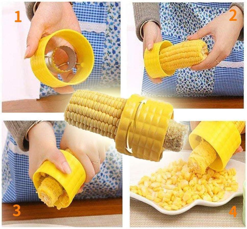 Cortador de ma/íz para accesorios de cocina Eauta color amarillo 1 paquete cortador manual de granos de ma/íz con protector de mano