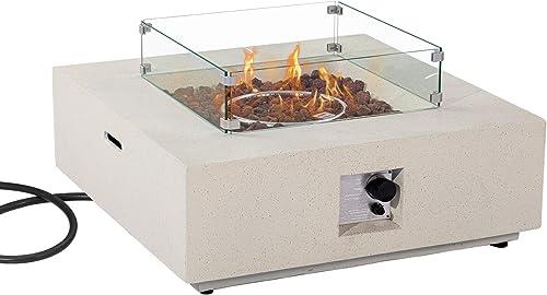 COSIEST 35-inch Square Outdoor Sandstone Propane Fire Pit w Wind Guard