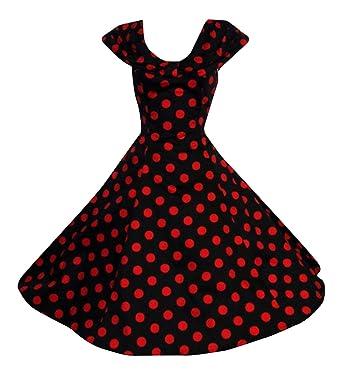 779f2615fe4 Vintage Style 40 s 50 s Shawl Collar Black Red Big Polka Dot Dress ...