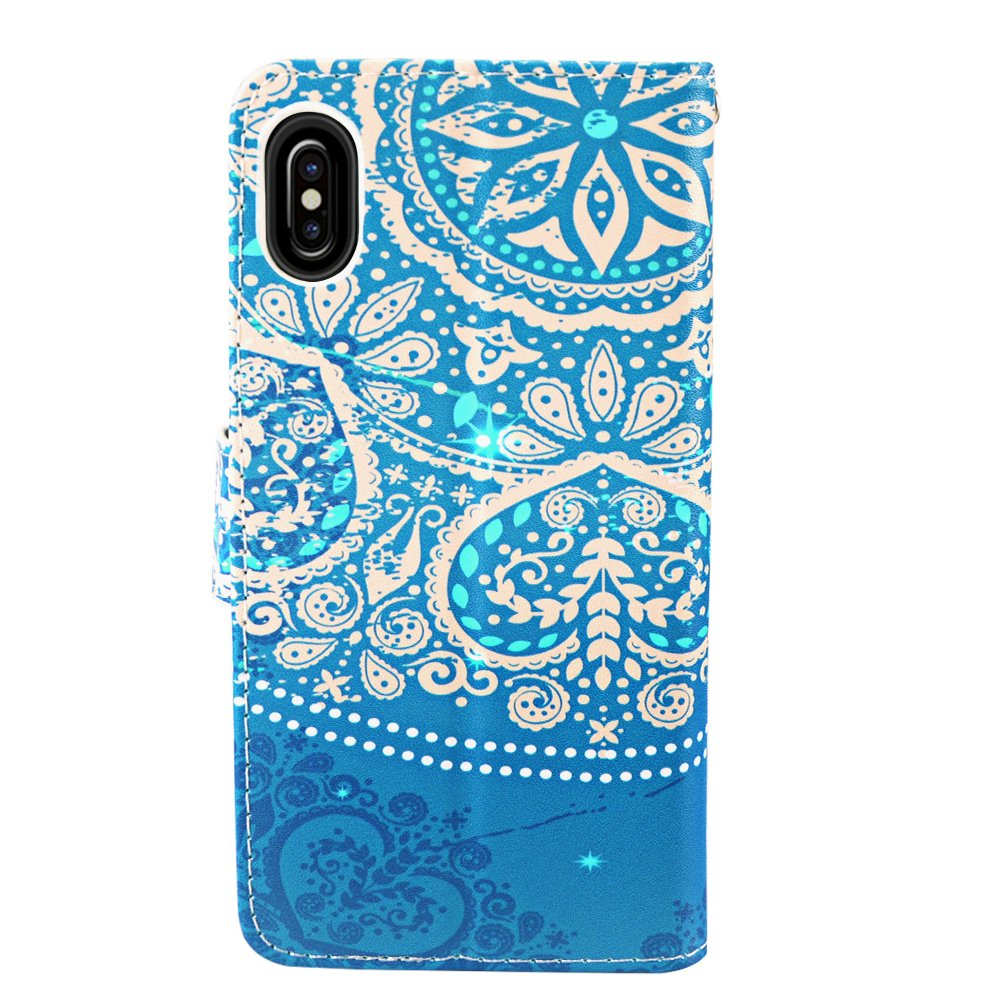 iPhone X Case, MagicSky iPhone X Wallet Case, Premium PU Leather Wristlet Flip Case Cover with Card Slots & Stand for Apple iPhoneX - Flower2