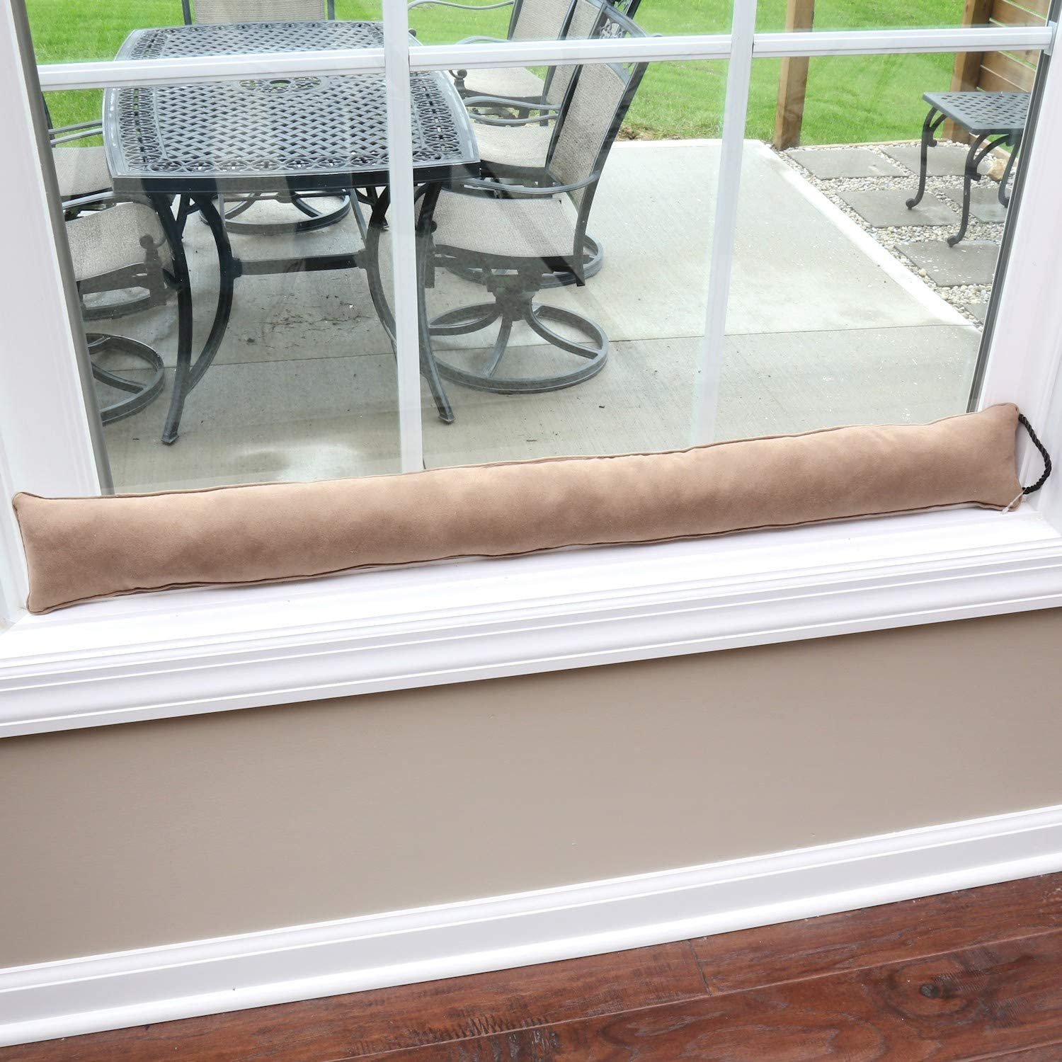 HOME DISTRICT Draft Dodger - Faux Suede Weighted Door and Window Breeze, Bug, Noise Guard Stopper Blocker - 35.5 Inches Long - Light Brown