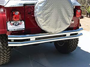 RAMPAGE PRODUCTS 8448 Stainless Steel Double Tube Rear Bumper with Hitch Receiver for 1976-2006 Jeep CJ, Wrangler YJ & TJ