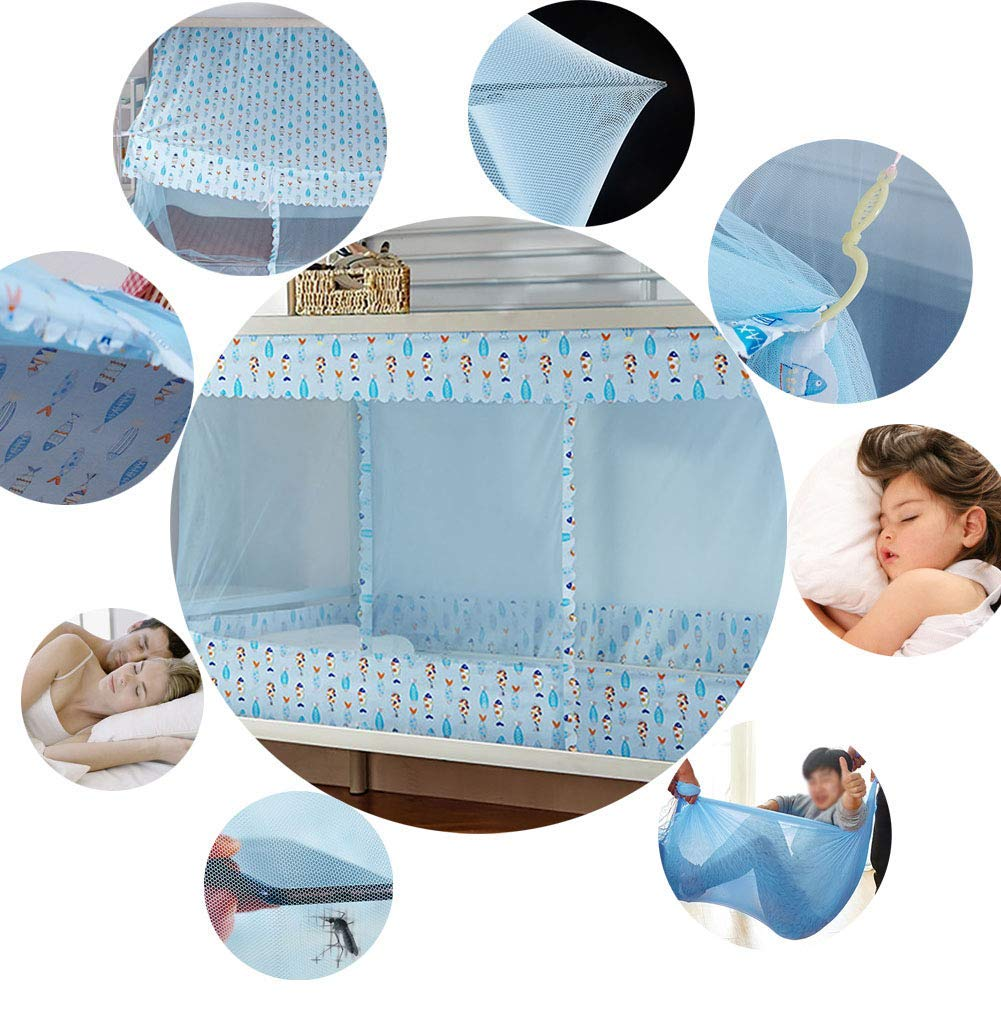 Bunk Bed Encryption Nets Bed Canopy Square Student Dorm Netting Blackout Curtains Anti-Mosquito Tent with Dustproof Top Tofover Dormitory Mosquito Net