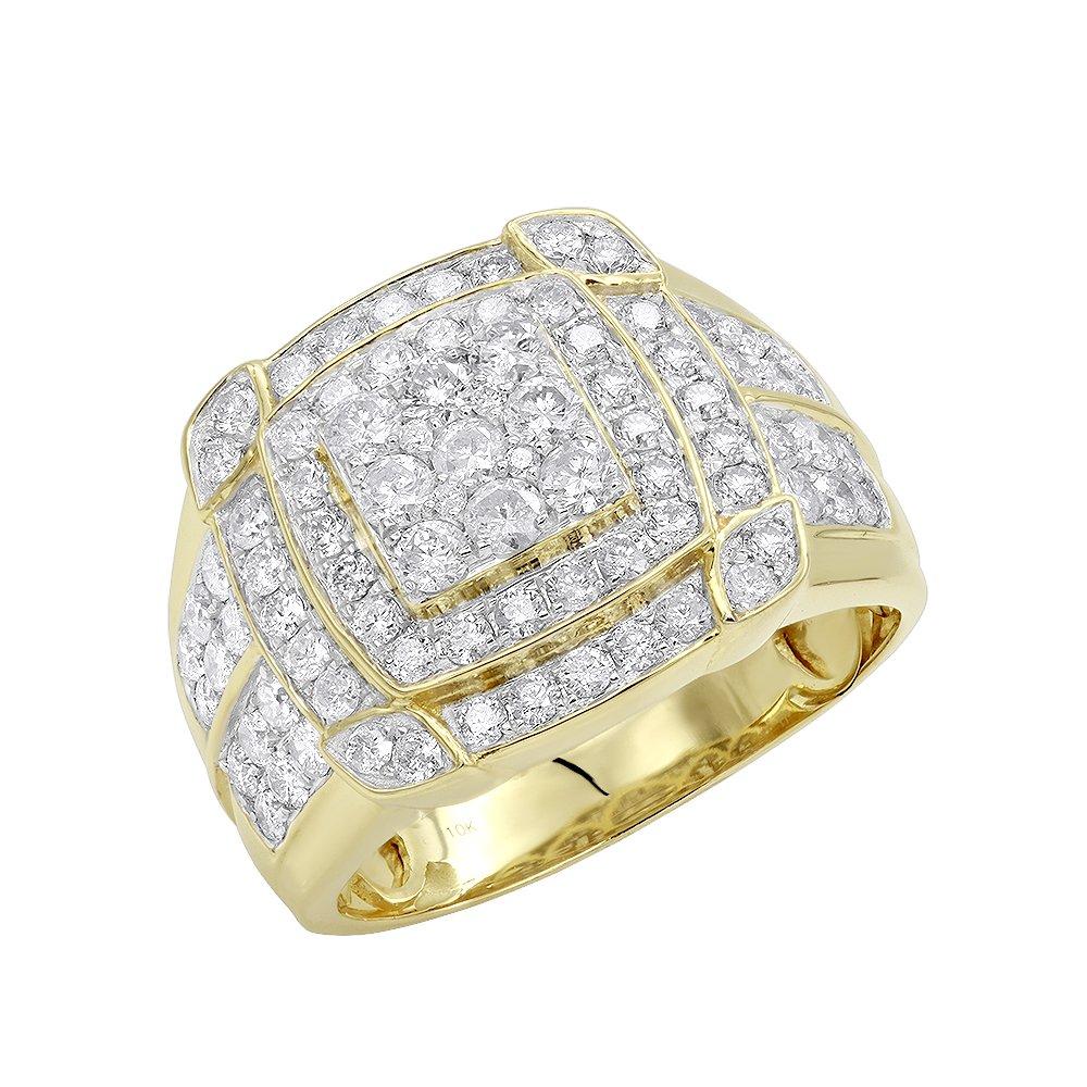 Mens Pinky Rings 10K Rose, White, Yellow Gold 2.5 Carat Diamond Band 2.5ctw (Yellow, Size 10)