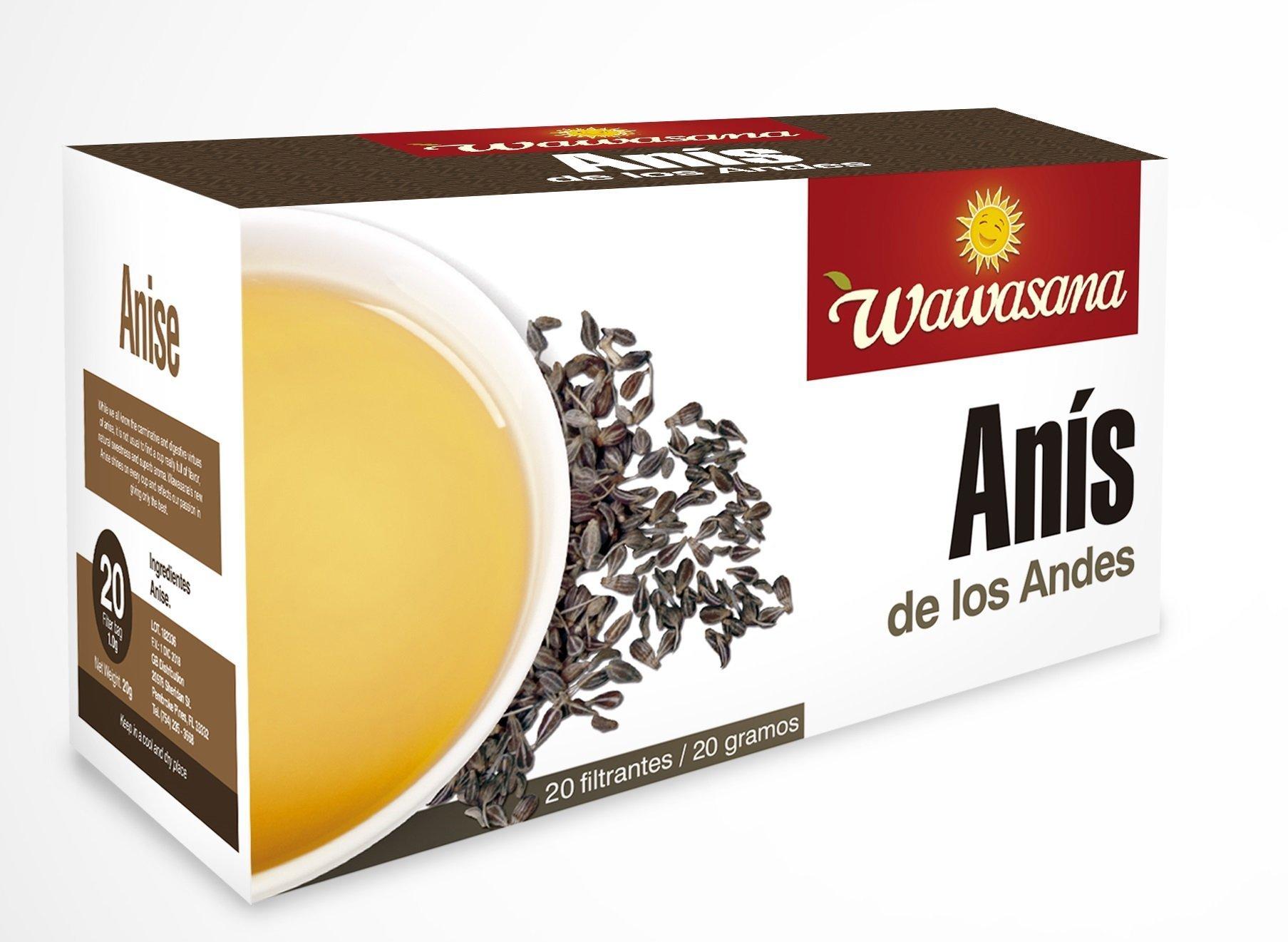 Wawasana.ANISE TEA 100% Pure Anise, from Peru. 20 teabags, 20 grs