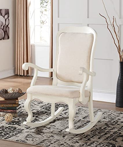 Simple Relax 1PerfectChoice Sharan Accent Rocking Chair French Provencial  Antique White Beige Fabric Cushion