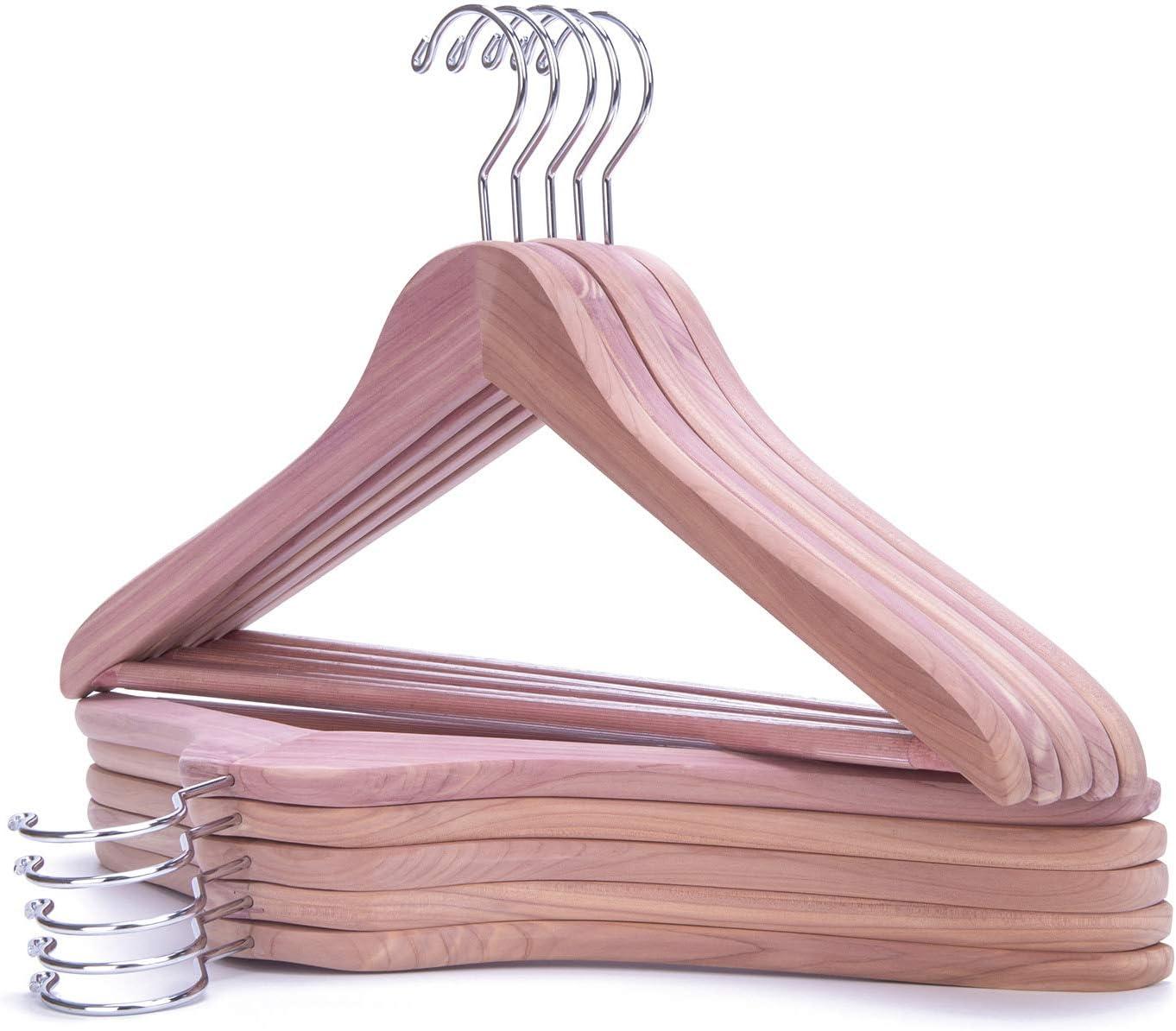 Natural Wooden Suit Coat Jacket Hangers Smooth Surface Wood Hangers Sturdy Cedar Wood Suit Coat Hanger with 360 Degree Swivel Hook Nature Smile Premium Aromatic American Red Cedar Hangers 10 Pack