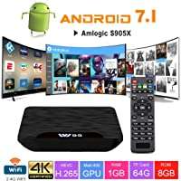 VIDEN Android TV Box - W1 Newest Android 7.1 Smart TV Box Sets, Amlogic S905X Quad-Core, 1 gb Ram & 8 gb Rom, 4K Ultra HD, Support Video Encoder For H.264, 2.4Ghz Wifi Media Player