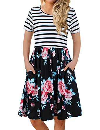 FANVOOK Women s Short Sleeve Patchwok Floral Dress Dresses with Pockets at  Amazon Women s Clothing store  7466fb6c6