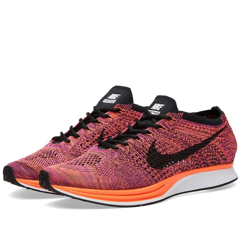 NIKE Unisex Flyknit Racer Running Shoe B01B9MADZE 4.5 D(M) US|Black/Black-hyper Orange-vivid Purple