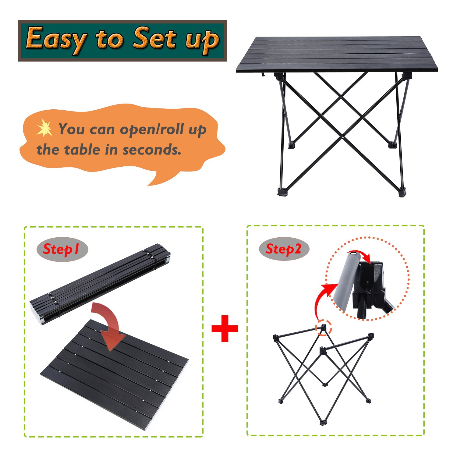 YAHILL Aluminum Folding Collapsible Camping Table Roll up 3 Size with Carrying Bag for Indoor and Outdoor Picnic, BBQ, Beach, Hiking, Travel, Fishing Black-XL